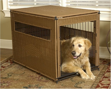 Wicker Dog Crate - Extra Large/Dark Brown