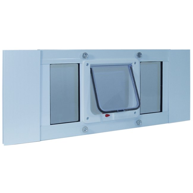 Ideal pet aluminum sash window cat flap 23 to 28 inches for Ideal pet doors