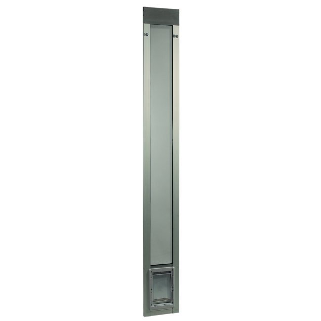 "Fast Fit Pet Patio Door - Small/Silver Frame 75"" to 77 3/4"""