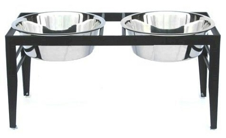 Chariot Double Elevated Dog Bowl - Large/Black