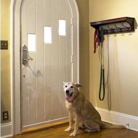 Pet door shield scratch protection for Door with dog door