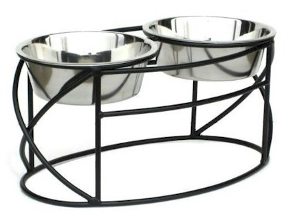 Oval Cross Double Raised Feeder - Small/Black