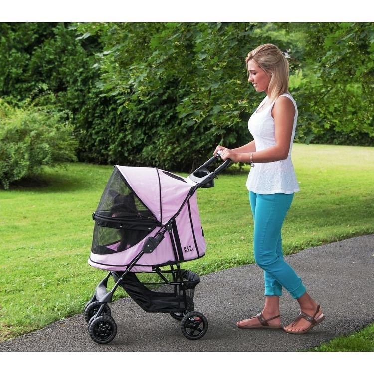 Happy Trails No-Zip Pet Stroller - Pink Diamond