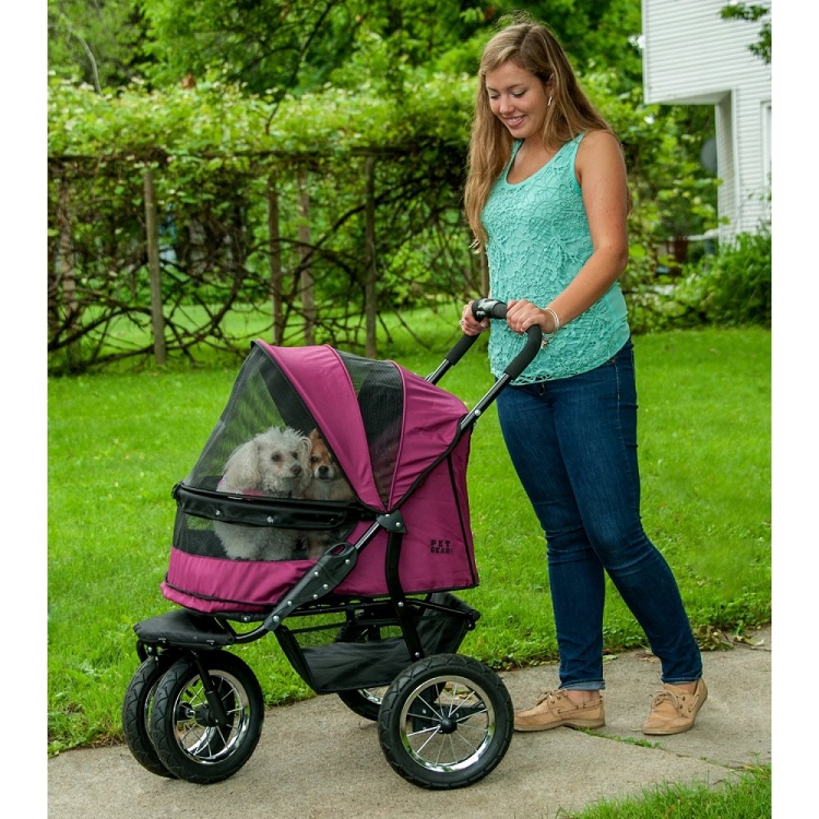 No-Zip Double Pet Stroller - Boysenberry