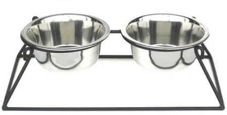 Pyramid Elevated Double Dog Feeder - Small/White