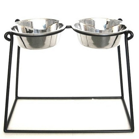 Pyramid Elevated Double Dog Feeder - XX Large/Mocha