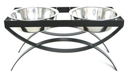 SeeSaw Double Elevated Dog Bowl - Small/Black