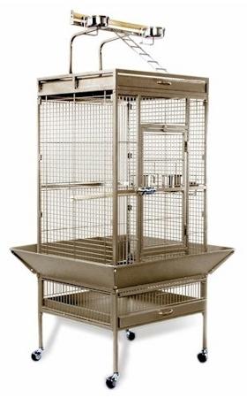 Medium Wrought Iron Select Bird Cage - Pewter