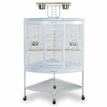 White Corner Parrot Cage
