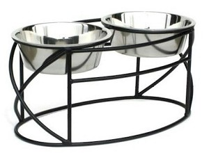 Oval Cross Double Raised Feeder - Small